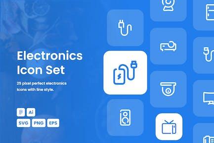 Electronic Dashed Line Icon Set