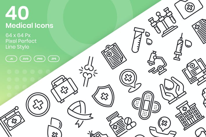 Thumbnail for 40 Medical Icons Set - Line
