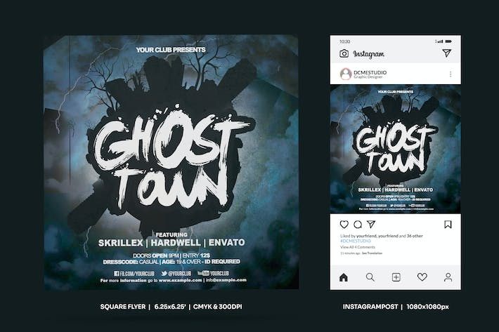Thumbnail for Ghost Town Square Flyer & Insta Post