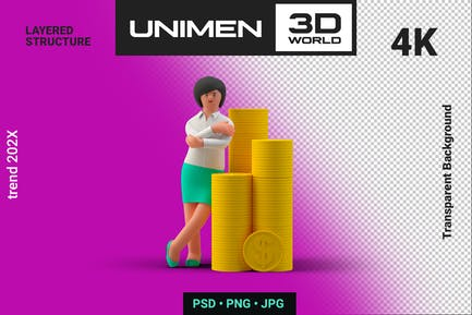 Businesswoman 3D Standing with Stacks of Coins