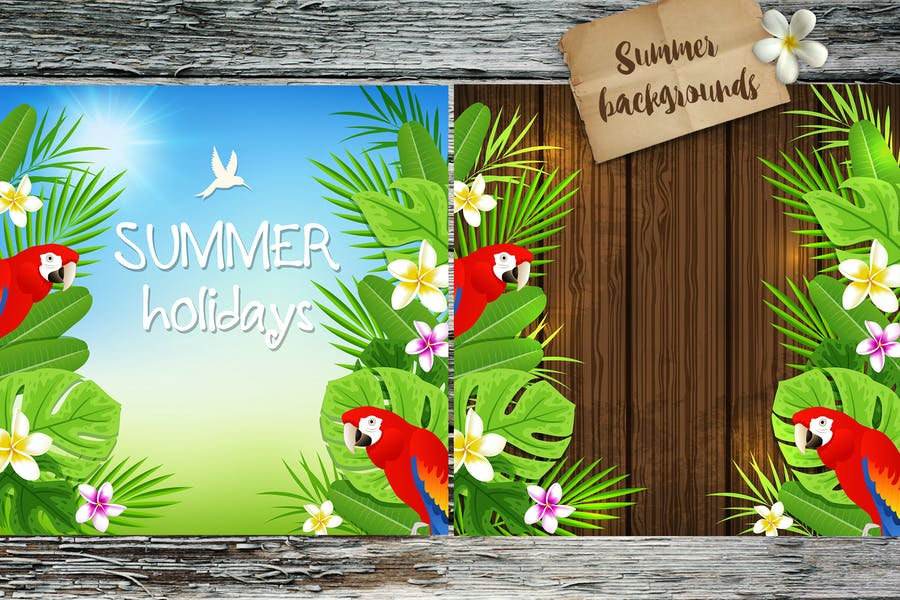 Tropical Summer Backgrounds with Red Parrots