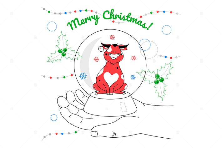 Merry Christmas - flat design style illustration