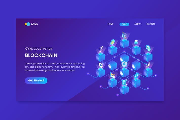 Thumbnail for Blockchain Cryptocurrency Landing Page Template