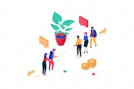 Unternehmenswettbewerb - isometrische Illustration