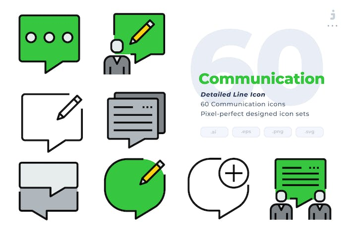 Thumbnail for 60 Communication Icons - Detailed Line Icon