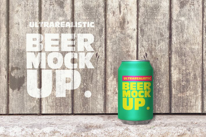 Thumbnail for Customizable Wooden Beer Can Mockup