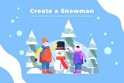 Create a Snowman - Winter Illustration