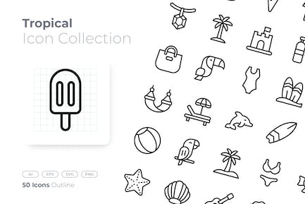 Tropical Outline Icon