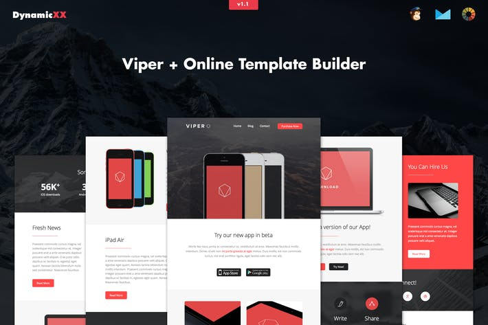Cover Image For Viper - Responsive APP Business Email + Builder