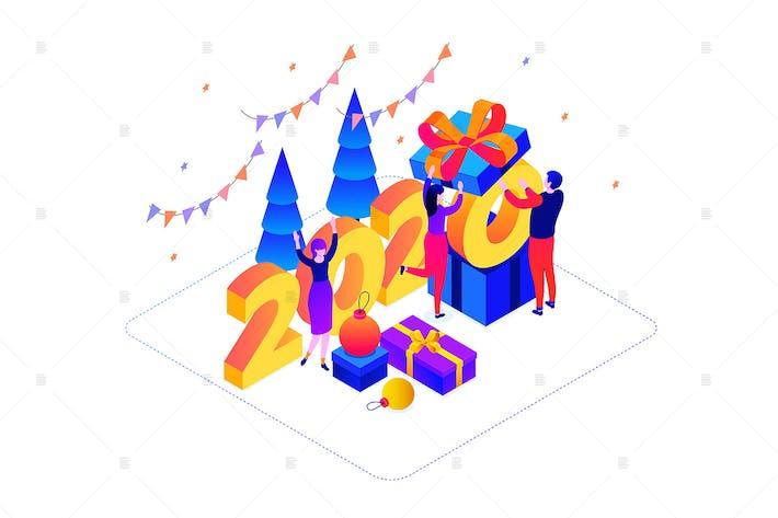 Thumbnail for New year celebration isometric illustration