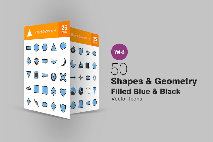 Thumbnail for 50 Shapes & Geometry Blue & Black Icons