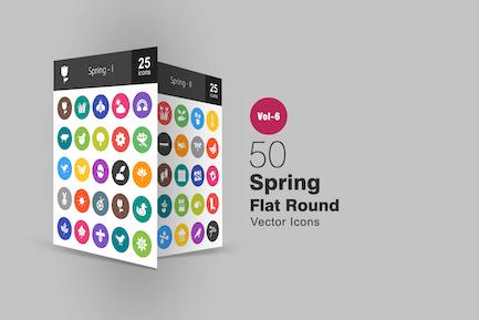 50 Spring Glyph Multicolor BG Icons