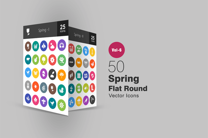 Thumbnail for 50 Spring Glyph Multicolor BG Icons