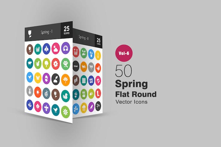 50 Spring Glyphe Multicolor BG Icons