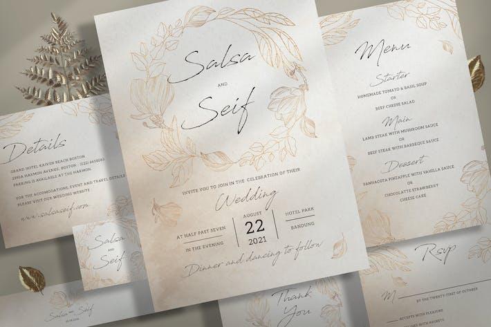 Thumbnail for Braunes Laub Hochzeitseinladungs-Set