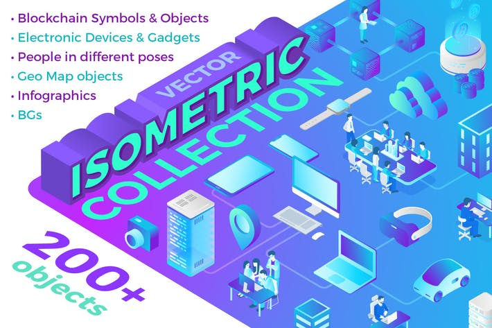 Thumbnail for Isometric Flat Vector Collection