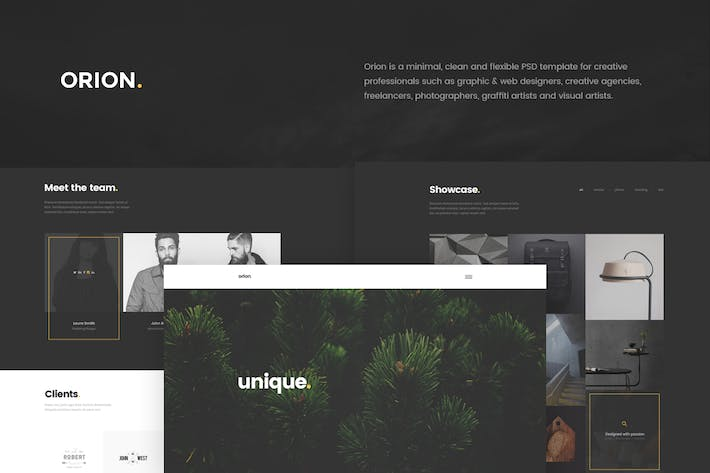 Thumbnail for Orion - Minimal Portfolio PSD Template
