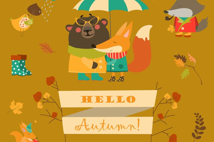 Cover Image For Cartoon characters and autumn elements. Vector