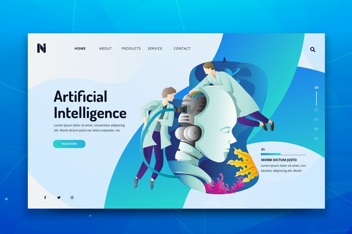 Thumbnail for Artificial Intelligence Web  PSD and AI Template