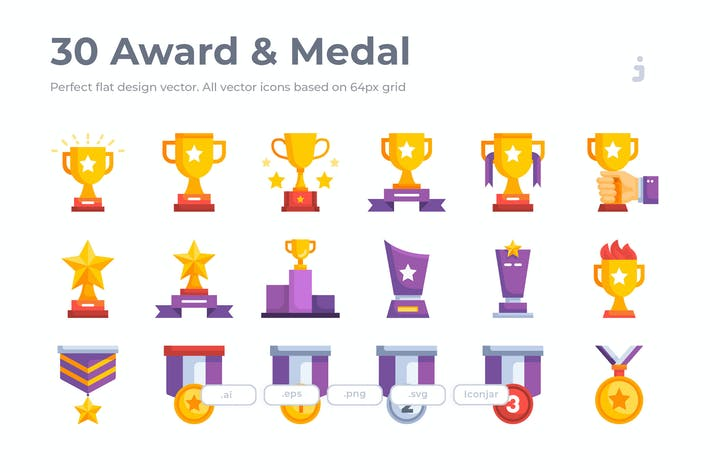 Thumbnail for 30 Award Icons- Flat