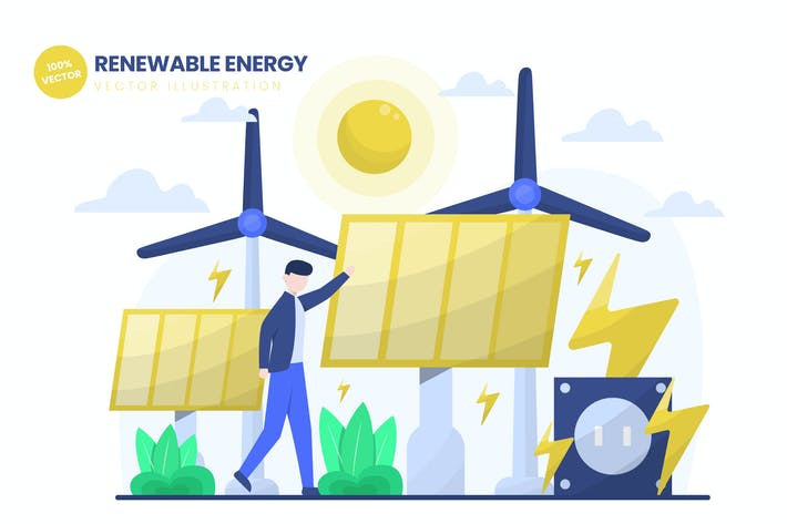 Thumbnail for Renewal Energy Flat Vector Illustration