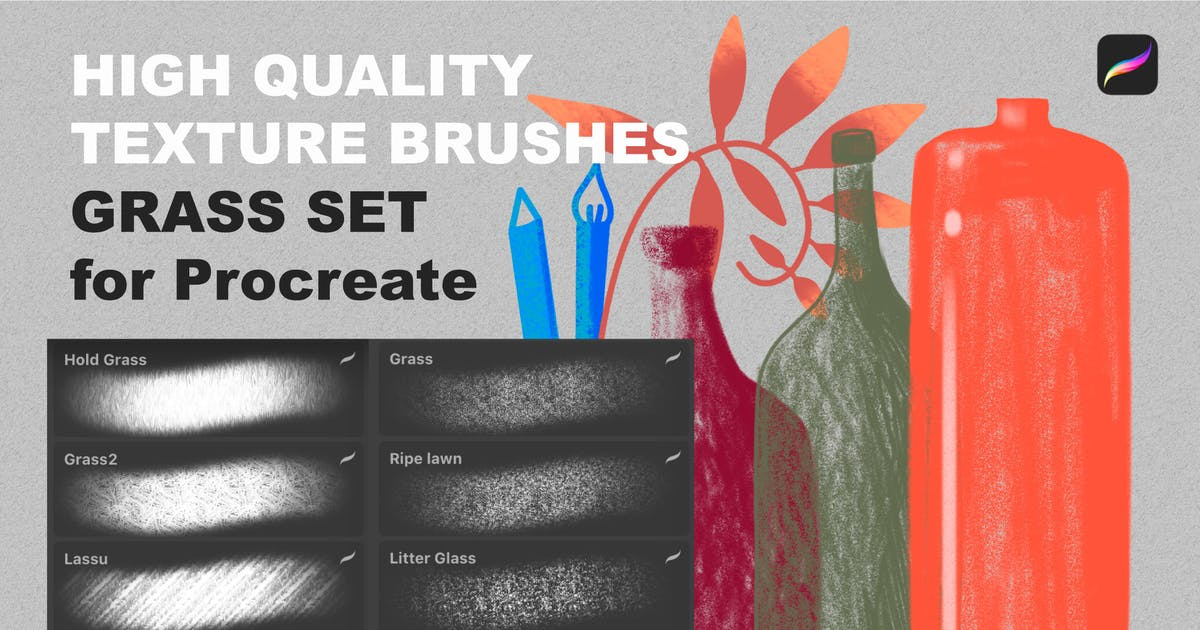 Download Procreate texture brushes. GRASS SET by a_slowik
