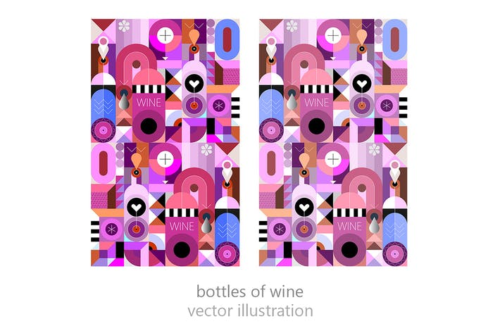 Thumbnail for Bottles of Wine vector illustration