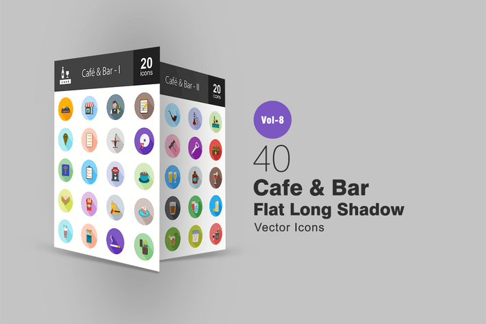 Thumbnail for 40 Cafe & Bar Flat Shadowed Icons
