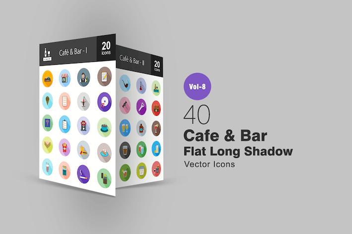 Thumbnail for 40 Cafe & Bar Flat Shadowed Icons
