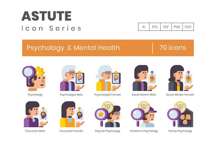 70 Psychologie und psychische Gesundheit Flache Icons