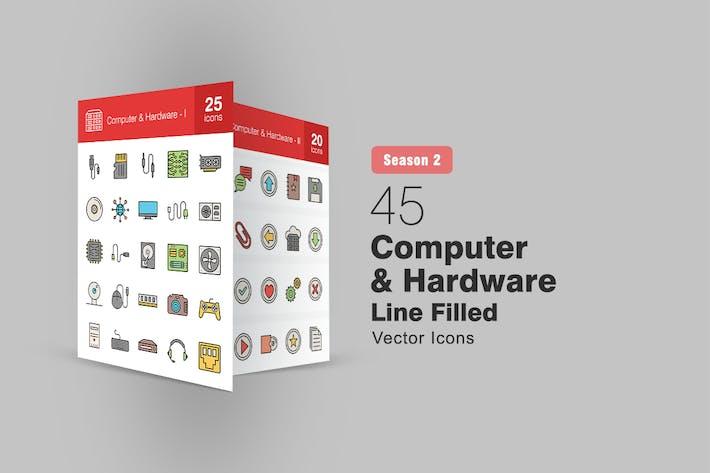 Thumbnail for 45 Компьютер и оборудование заполненные строки Иконки Сезон II