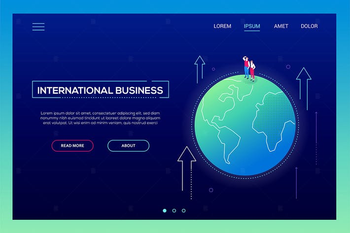 Thumbnail for Internationales Geschäft - isometrisches Vektor Banner