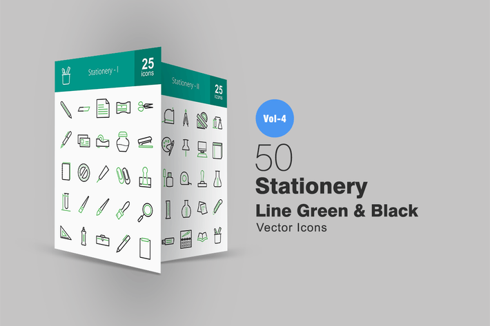 Thumbnail for 50 Stationery Line Green & Black Icons