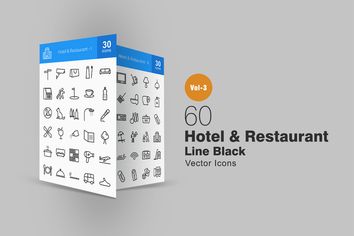 Thumbnail for 60 Hotel & Restaurant Line Icons