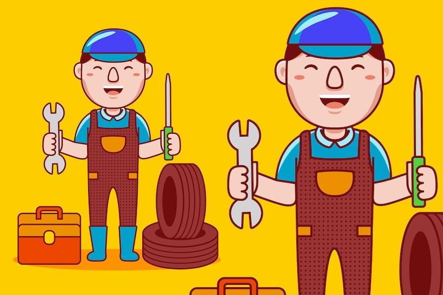 Mechaniker Beruf Cartoon Vektor