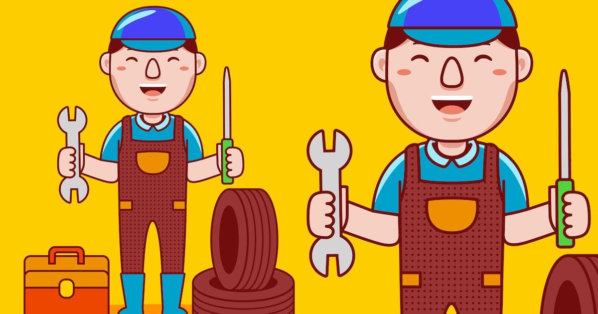 Download Mechanic Profession Cartoon Vector by medzcreative
