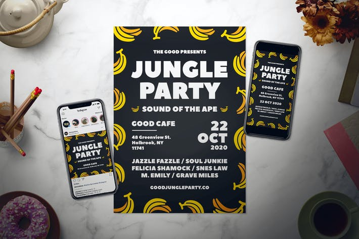 Thumbnail for Jungle Party Flyer Set