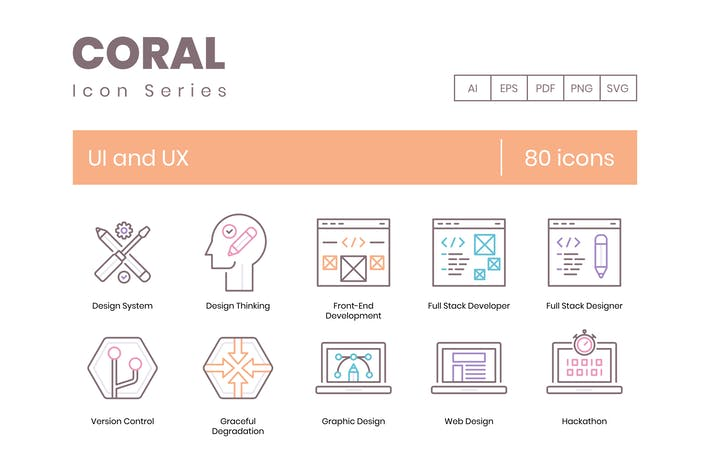 Thumbnail for 80 UX and UI Icons | Coral Series