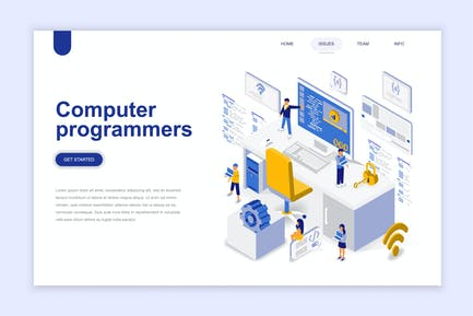 Computer Programmers Isometric Landing Page
