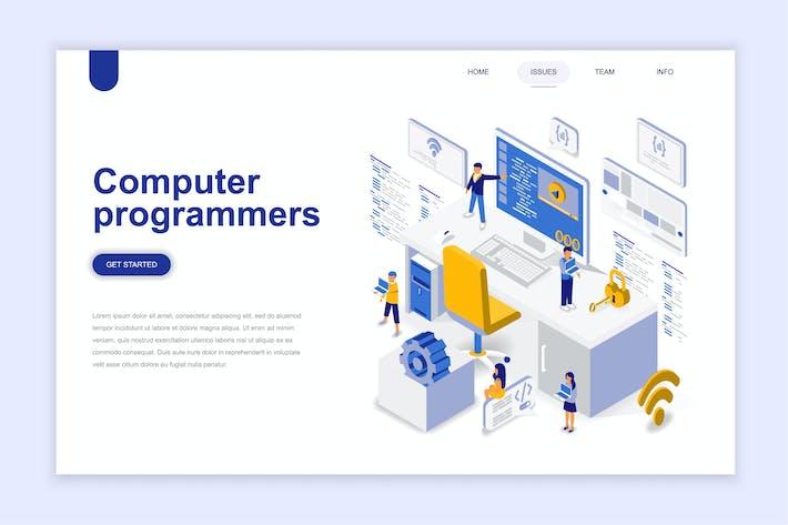 Thumbnail for Компьютерные программисты Изометрическая посадочная страница