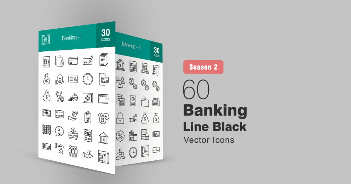 Download 60 Banking Line Icons Season II by IconBunny