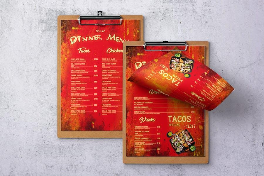 Mexican Cuisine Single Page A4 & US Letter Menu