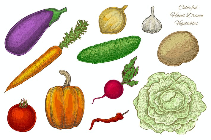Thumbnail for Vegetables. Vector Set