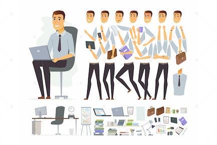 Geschäftsmann bei der Arbeit - Charakter Konstruktor