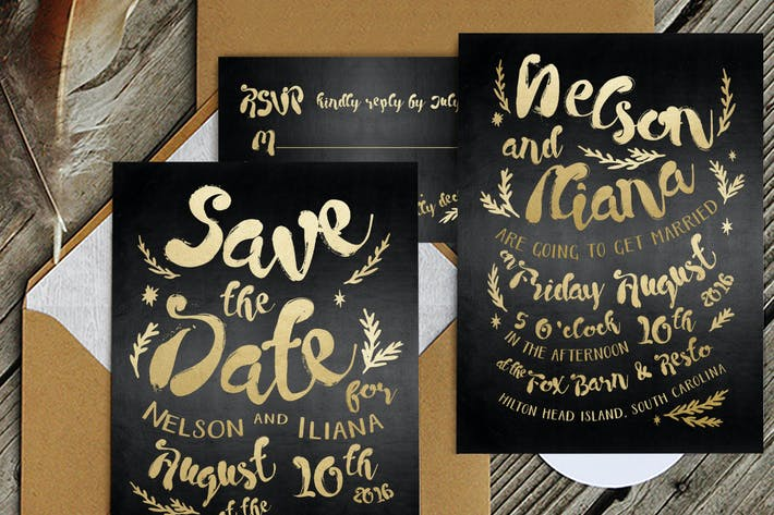 Thumbnail for Black & Gold Hipster Invitation