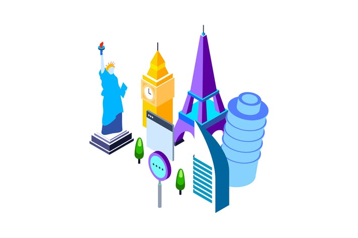 Thumbnail for Travel and Tourism Isometric Illustration
