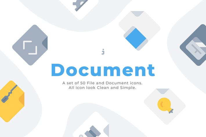 Thumbnail for 50 File and Document icons - Flat