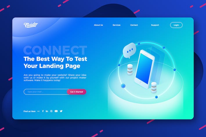 Thumbnail for Technology website hero header template