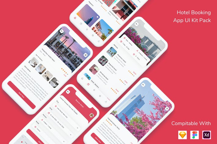 Thumbnail for Hotel Booking App UI Kit Pack