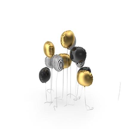 Круглые полосы, золото и черный шар
